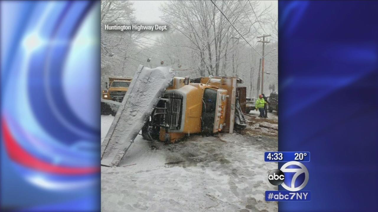 Dozens of accidents on icy LI roads