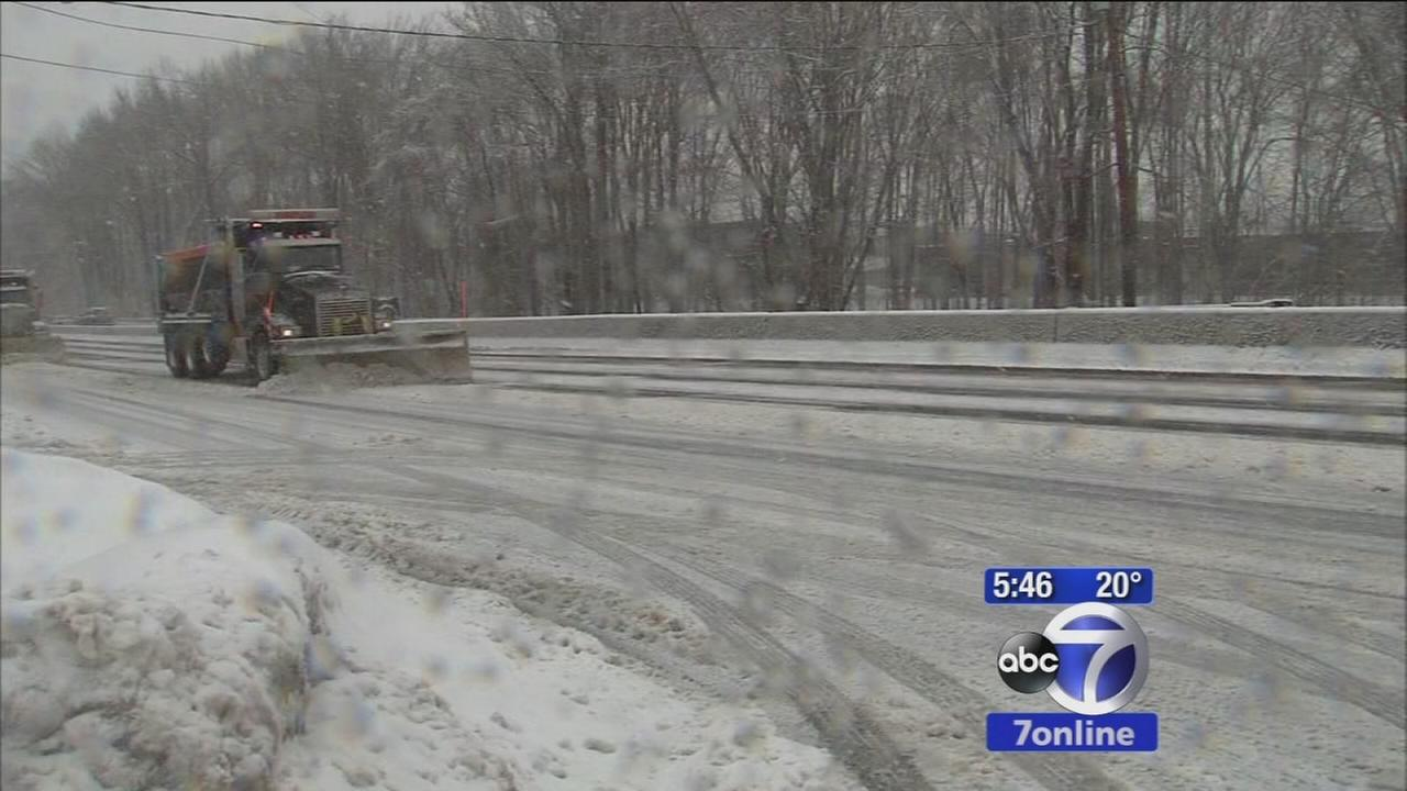 Plows trying to keep roads clear in New Jersey