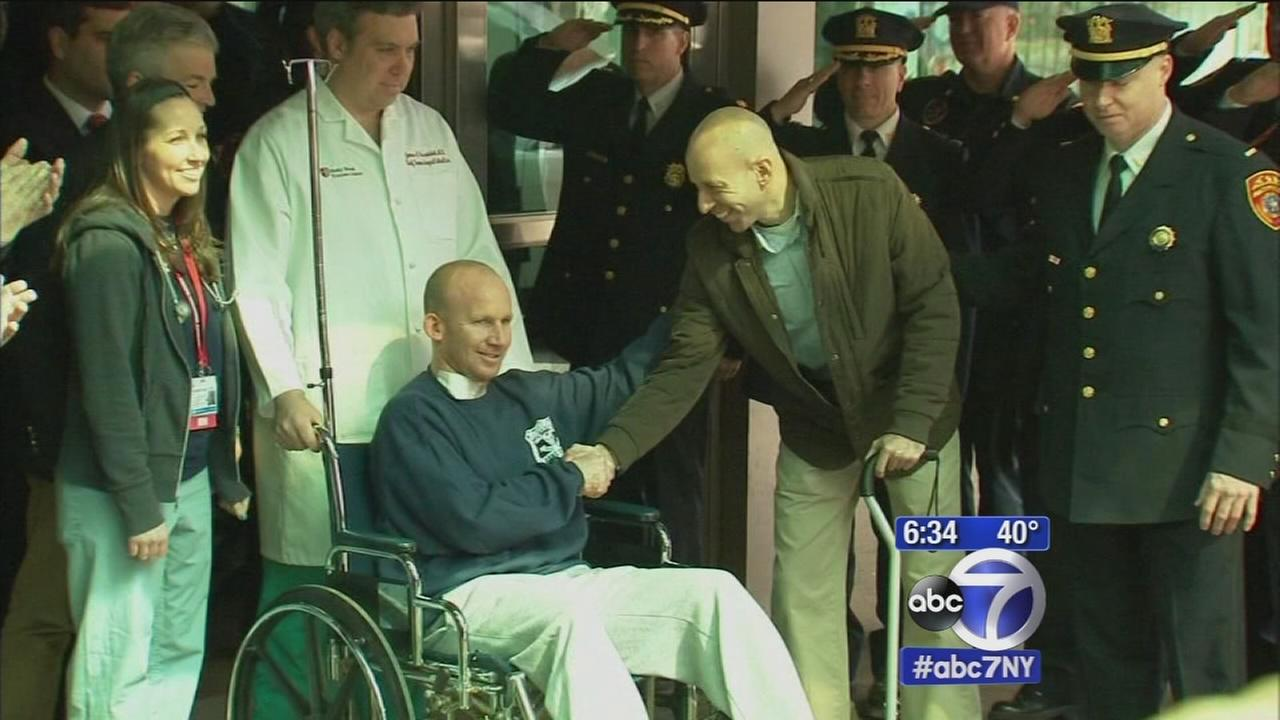 Suffolk police officer shot on duty released from hospital