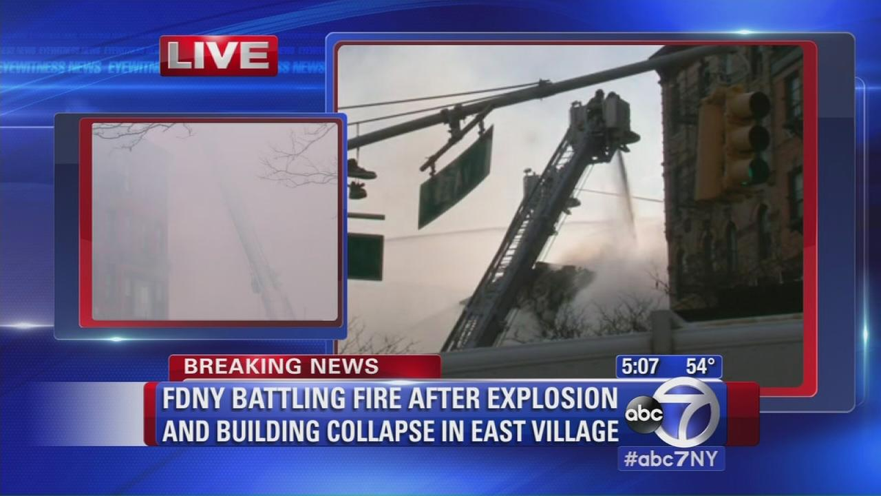 FDNY battles fire after explosion, collapse