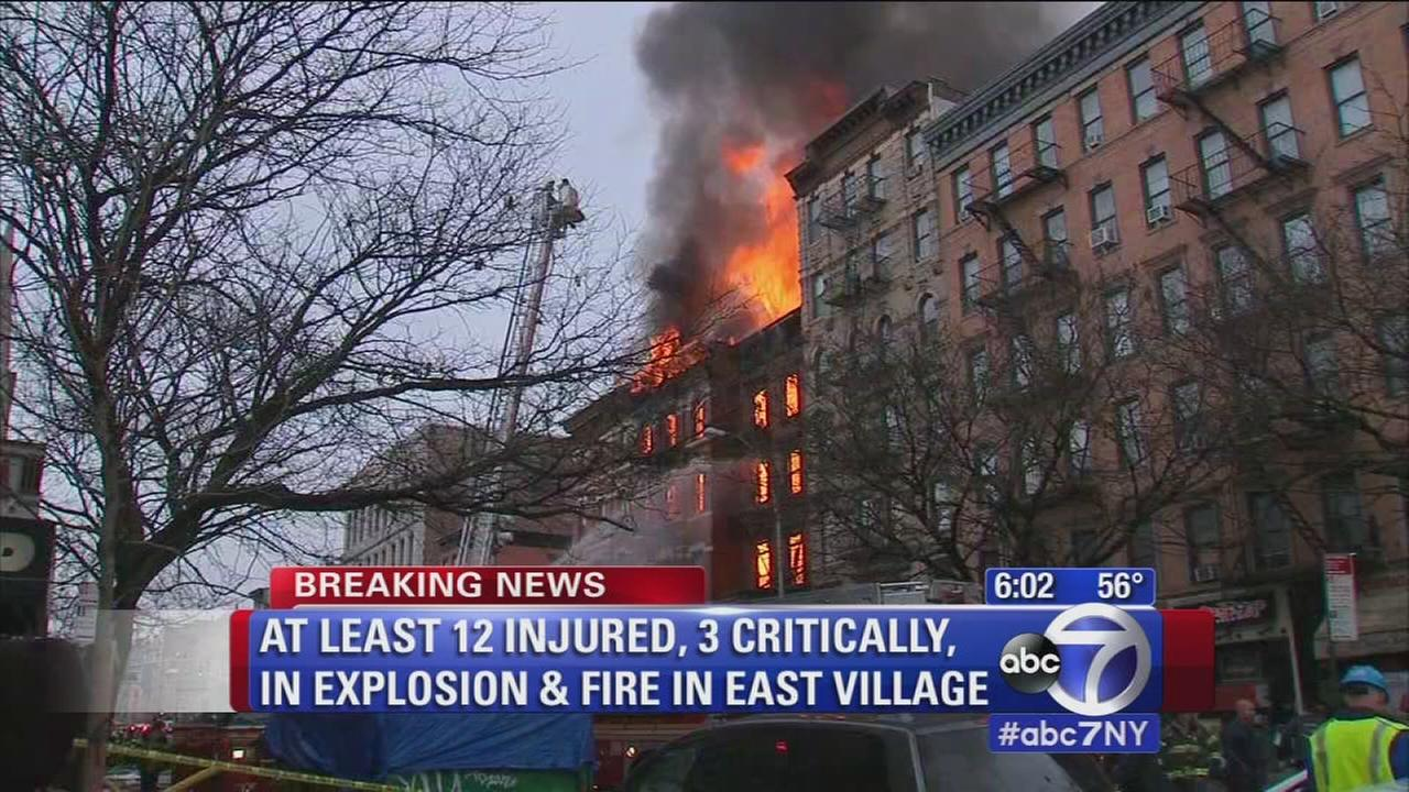 At least 12 injured, 3 critically, in explosion and fire