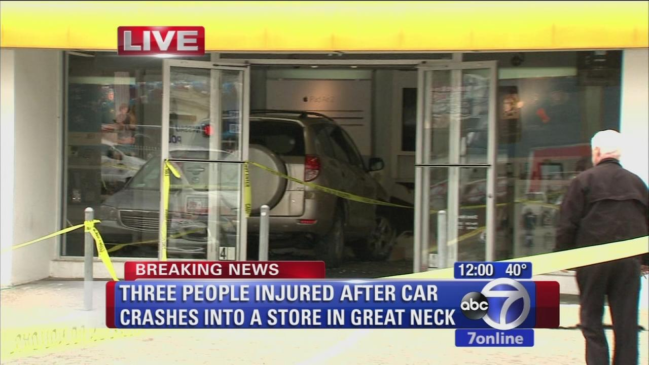 3 hurt when car slams into LI store