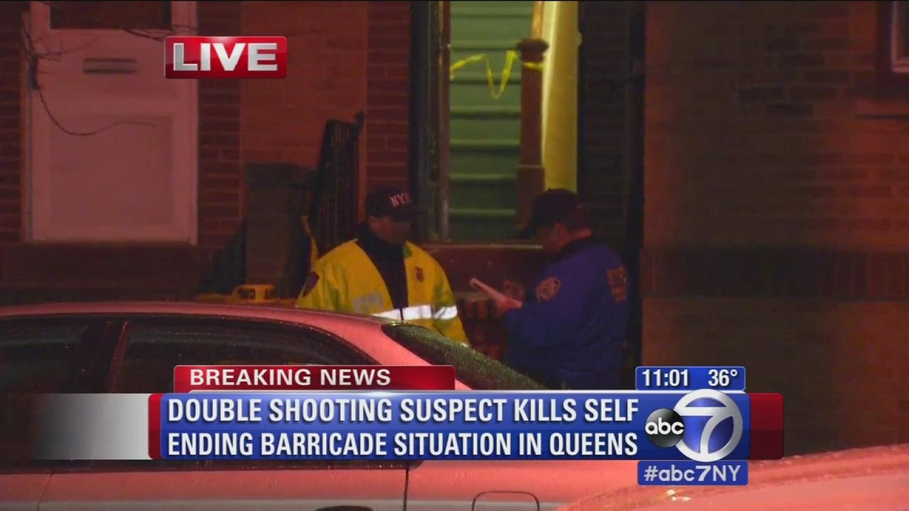 Suspect dead after barricading self in Queens, two women shot