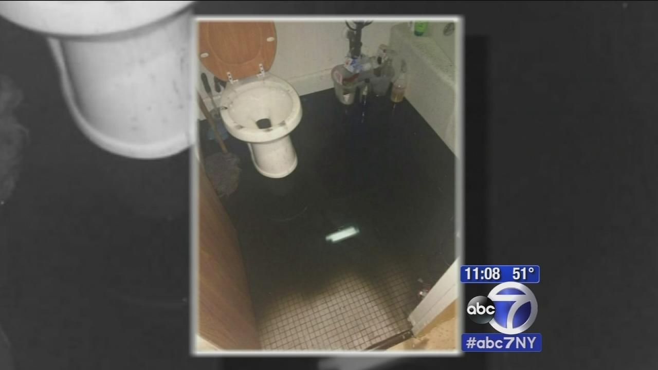 Water leak flooding hallways inside Harlem public housing building
