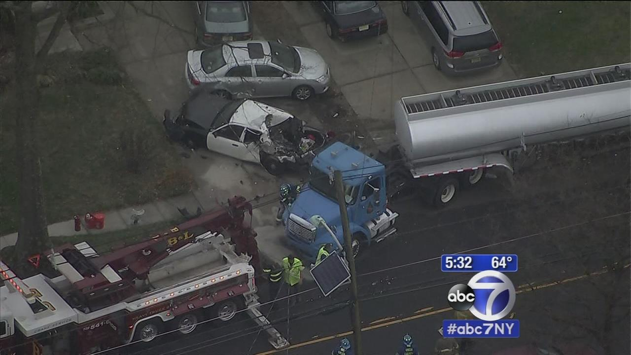 Tanker slams into parked cars in Rahway