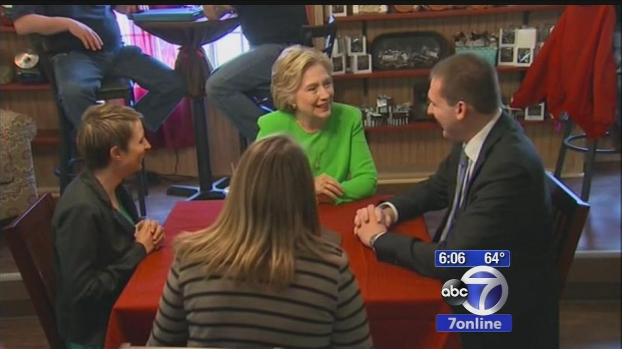Hillary Clinton meets with voters in Iowa