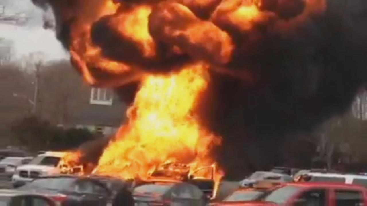 Raw video: Cars go up in flames on Long Island