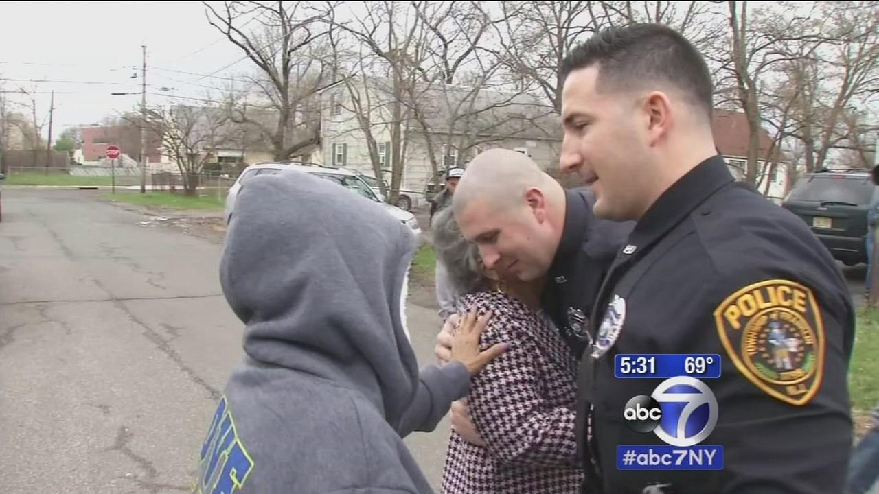 Fire victim meets police officers who rescued her from burning home