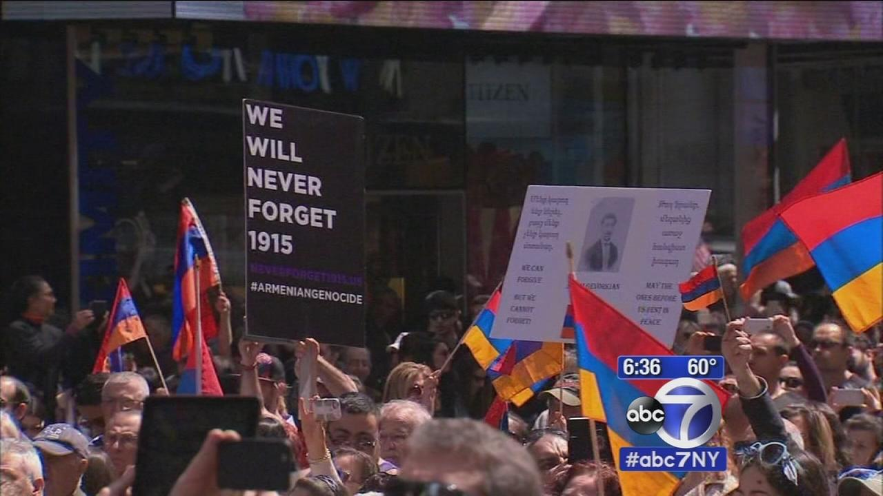 Rally in Times Square to mark 100 years since Armenian genocide