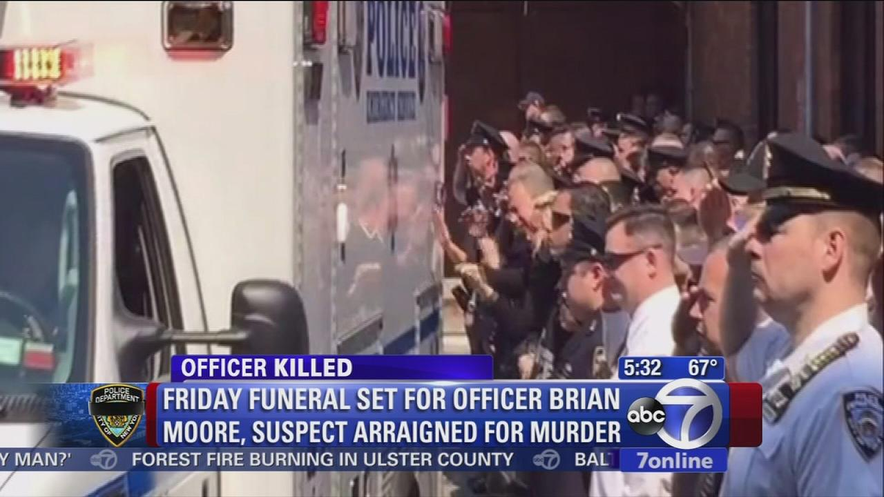 Officers, neighbors gather to say goodbye to falled NYPD officer Brian Moore