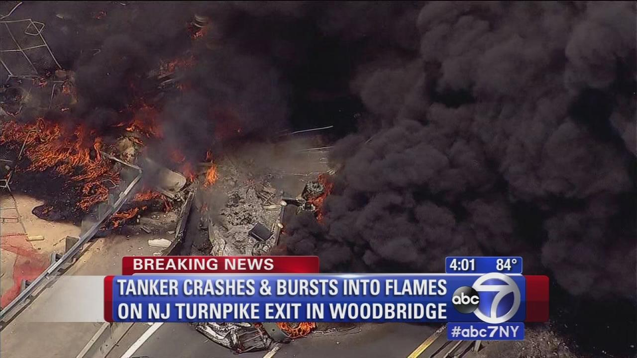 Tankers bursts into flames in NJ