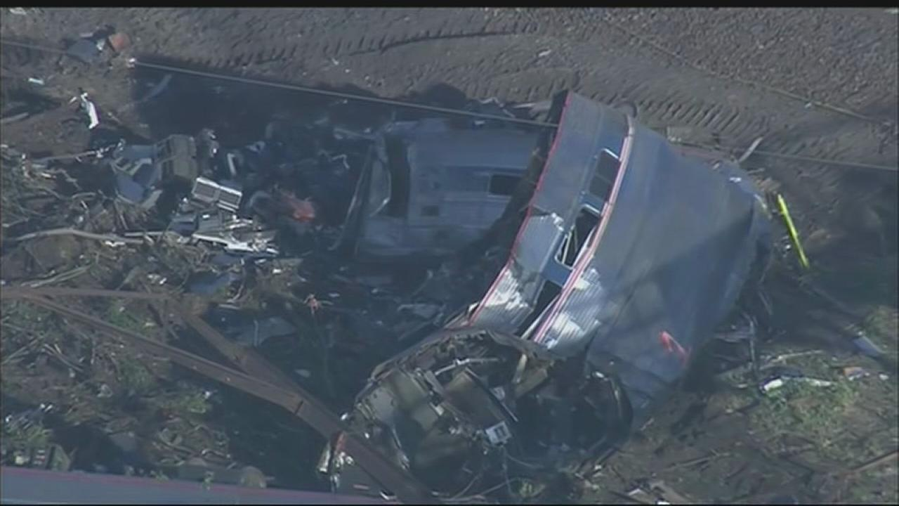 More aerials of Amtrak derailment