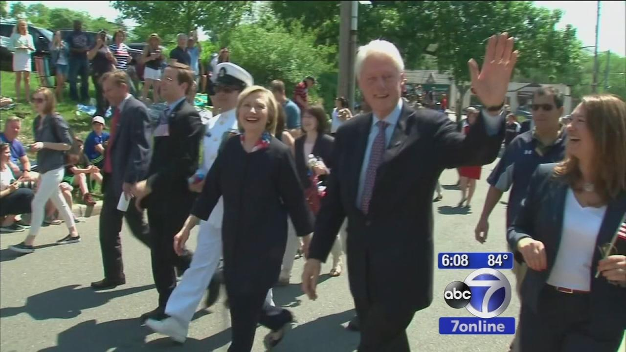 Bill and Hillary Clinton attend local Memorial Day parade
