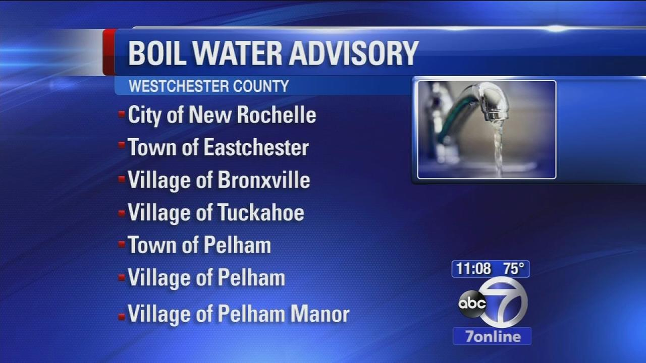 Boil water advisory for parts of Westchester County