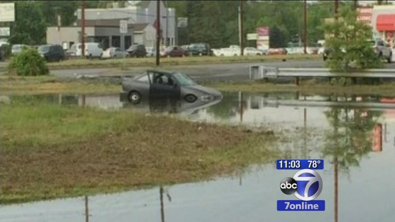 Dozens of cars destroyed in flash flooding in Toms River
