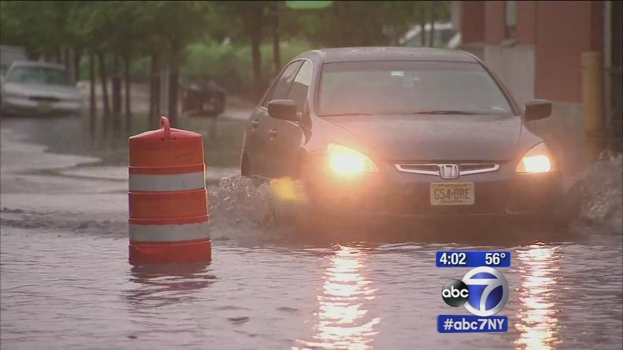 Heavy rain causes flooding in Hoboken