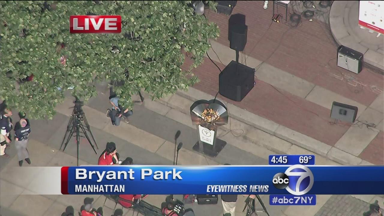 Special Olympics torch lit in Bryant Park