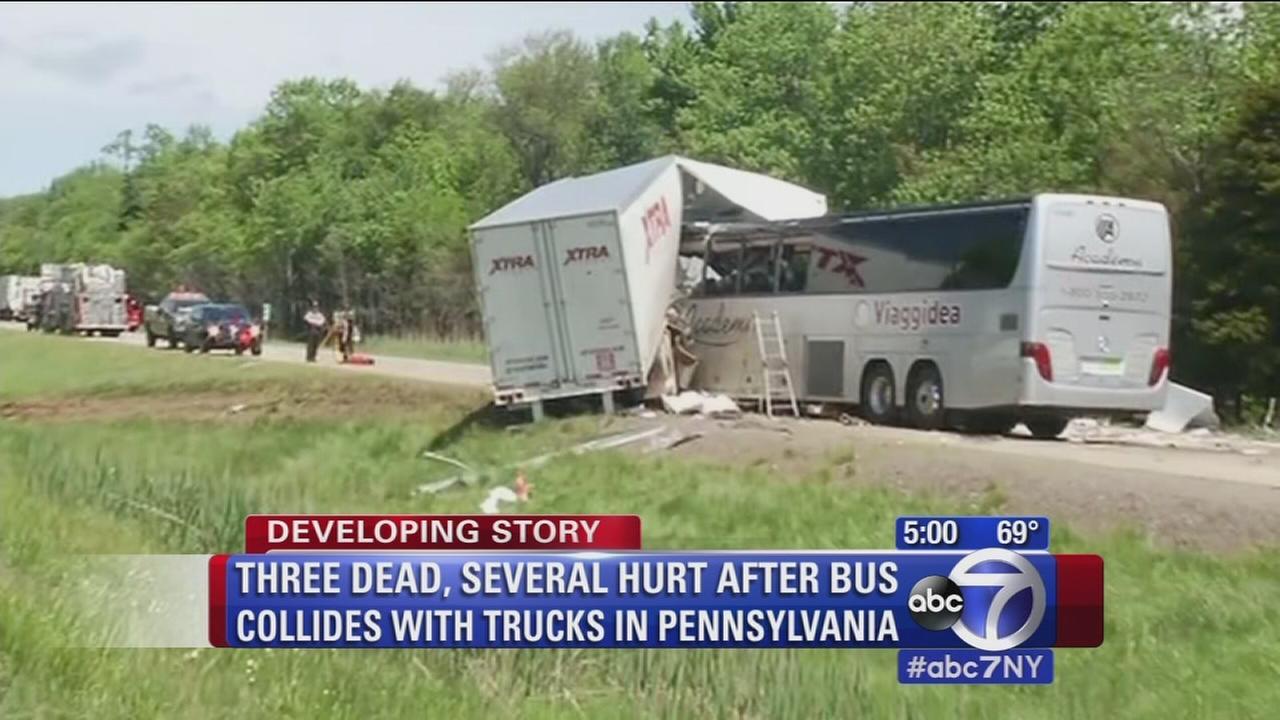 Bus-truck collision in Pennsylvania leaves 3 dead