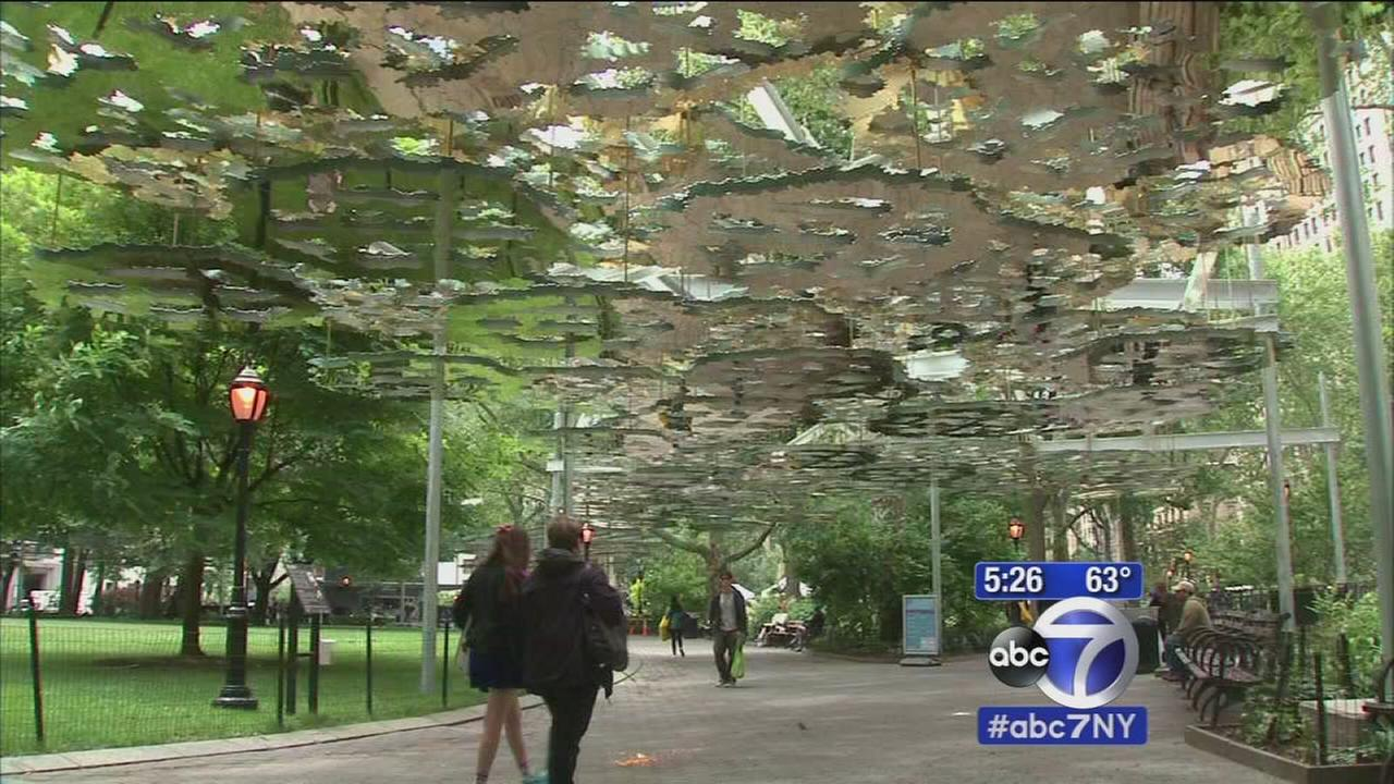 Giant sculpture involving golden canopies now in Madison Square Park