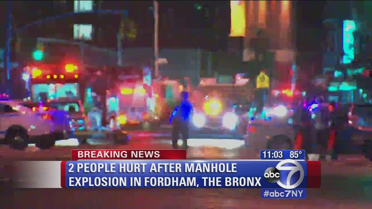 Two people hurt in manhole explosion in the Bronx