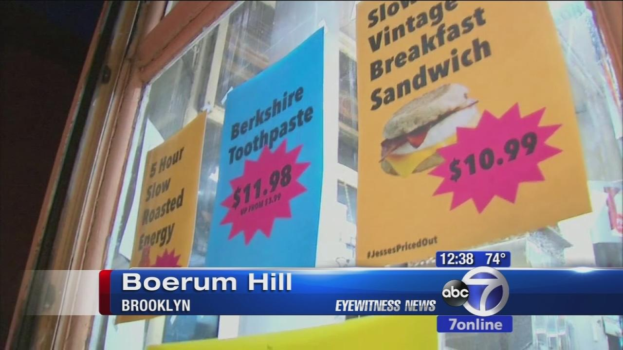 Store puts up signs with outragous prices because rent is skyrocketing