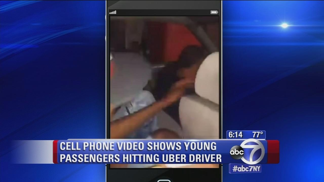 Cell phone video shows young passengers hitting Uber driver