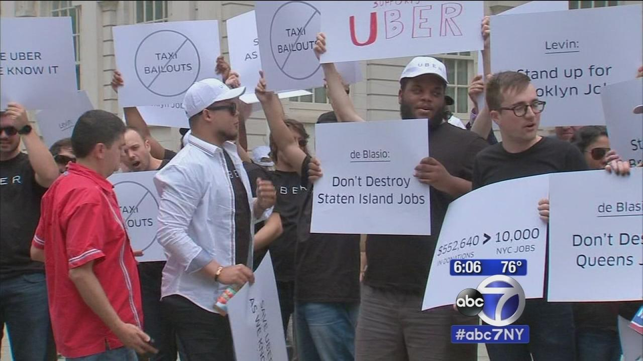 Uber drivers protest New York City Council bill to limit growth of for-hire vehicles