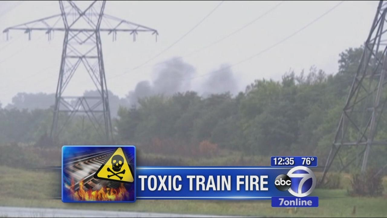 Train fire sends toxic fumes into air
