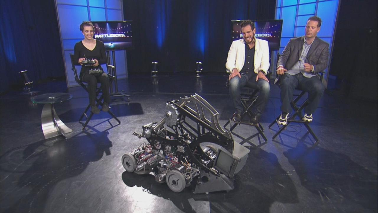 Comentators and competitor talk about ABCs BattleBots