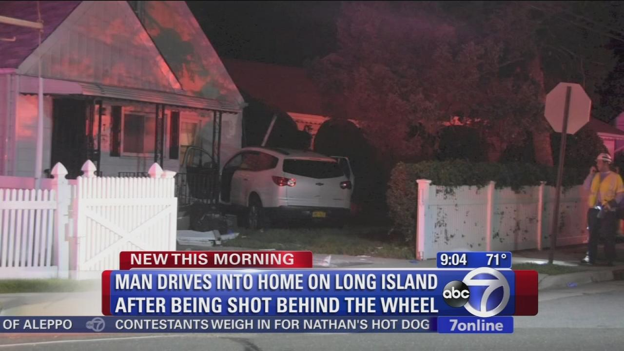 Man drives into Long Island home after shooting