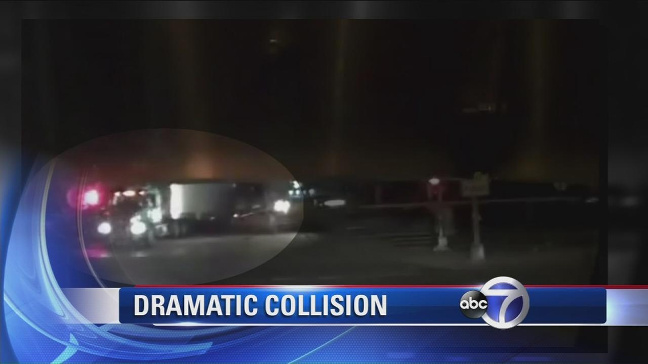 Dashcam video shows collision between tractor trailer and train