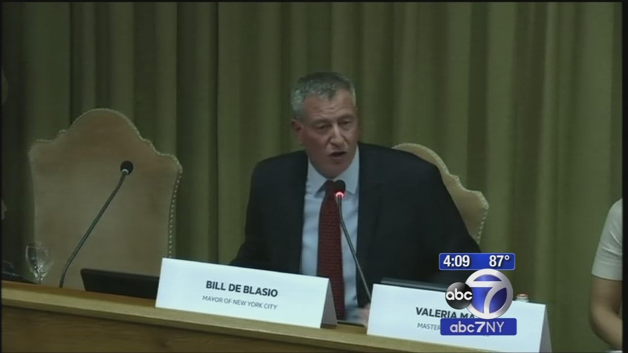 Mayor Bill de Blasio speaks at Vatican conference on climate change