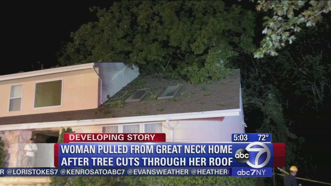 Woman rescued from LI home after tree falls through roof