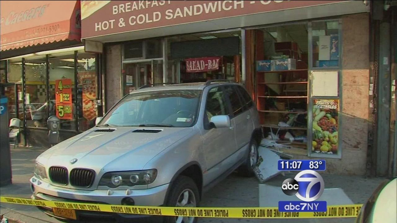 Driver goes out of control, slams into Bronx bodega