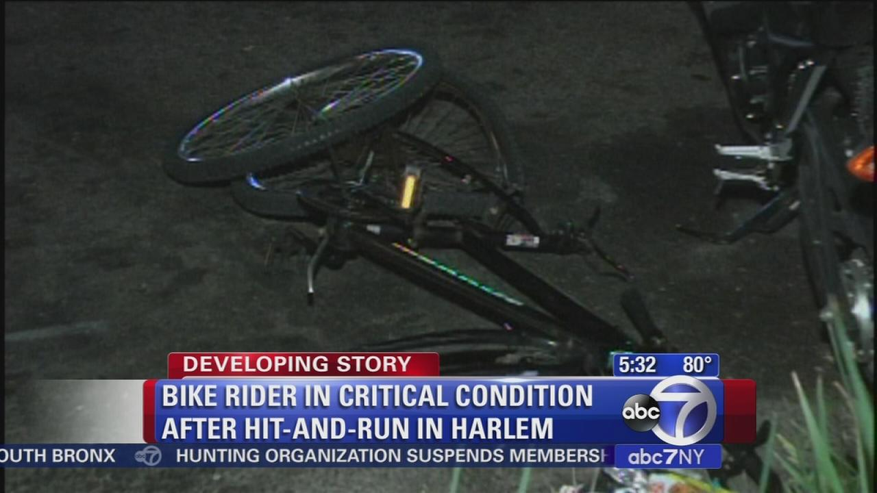 Bicyclist critcally injured in hit-and-run in Harlem
