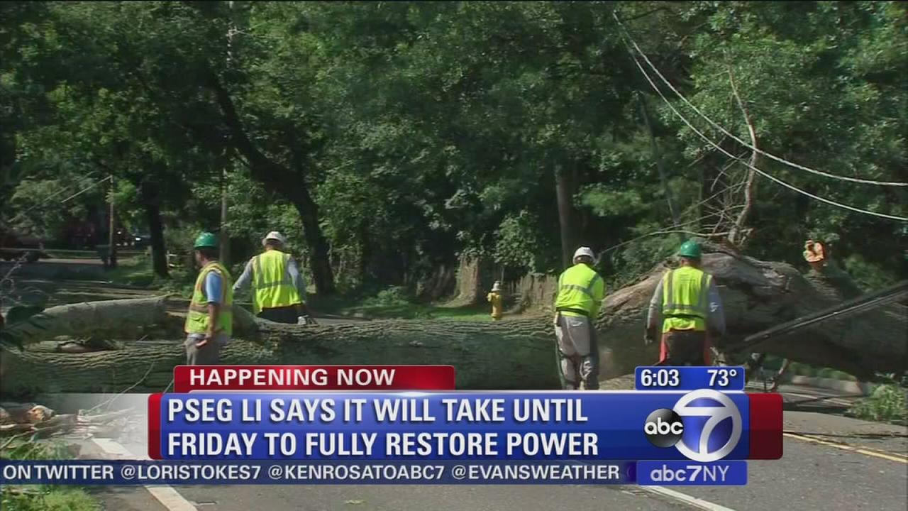 Thousands still without power on Long Island