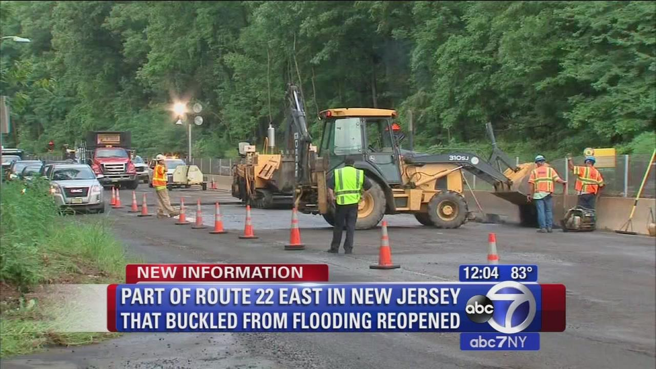 Some lanes reopen on Route 22 after flooding