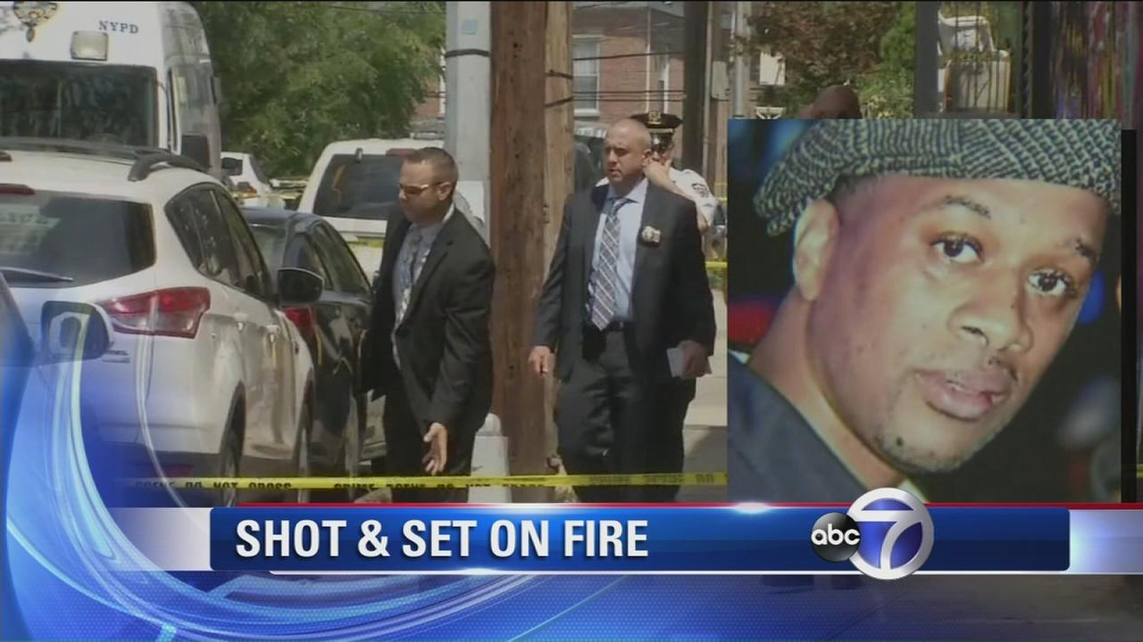 2 arrested after man found shot and set on fire