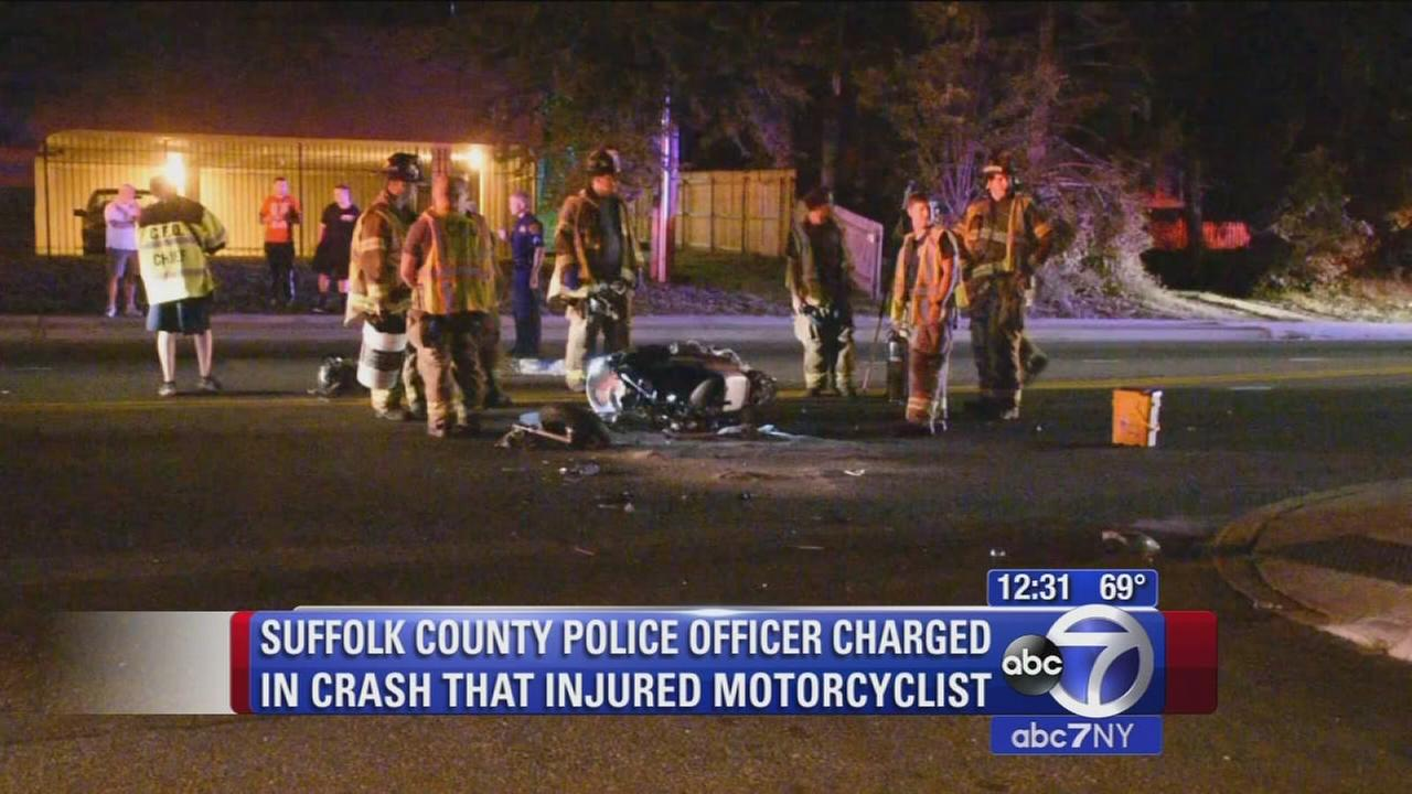 Suffolk County police officer charged in hit-and-run of motorcyclist in Ronkonkoma