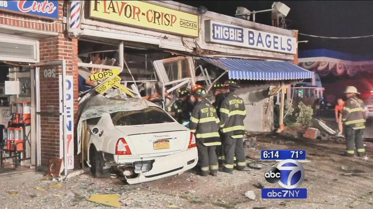 Maserati crashes into Suffolk County bagel shop