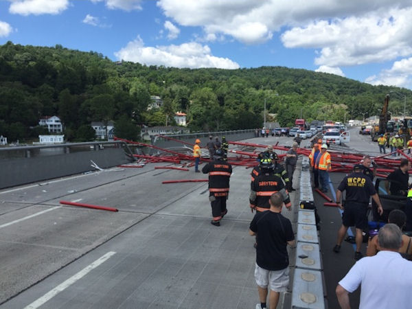 <div class='meta'><div class='origin-logo' data-origin='none'></div><span class='caption-text' data-credit='Max Jacobs'>Photos of the crane collapse on the Tappan Zee Bridge on Tuesday, July 19, 2016</span></div>