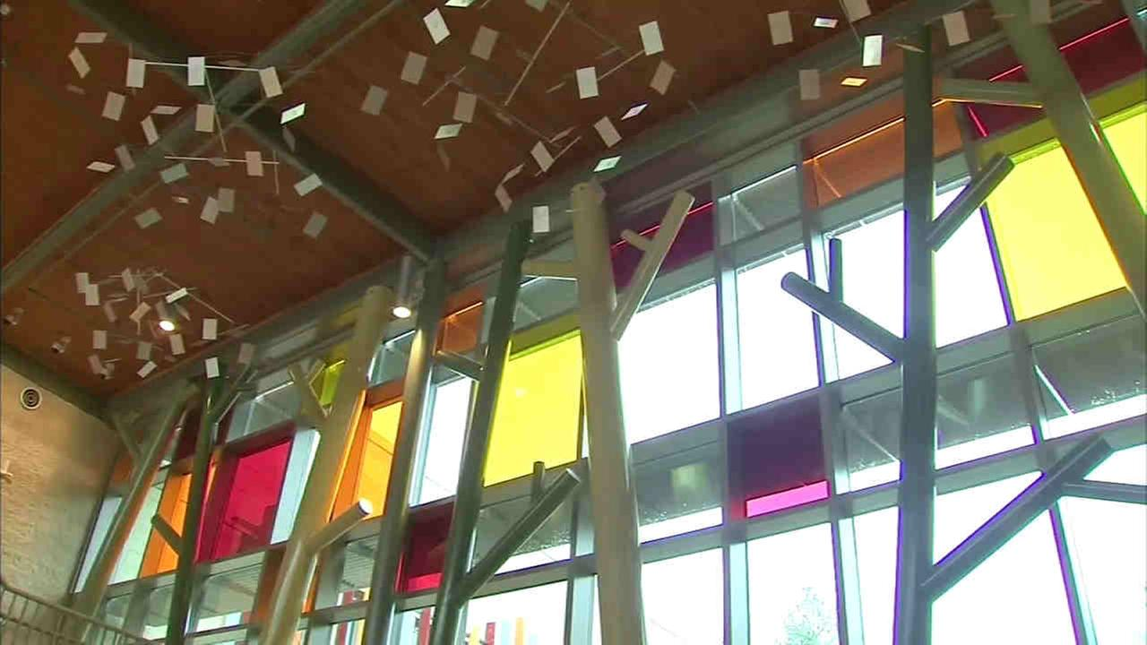 Inside the atrium at the new Sandy Hook Elementary. The new $50 million, 86,000-sq.-ft school is on the same property but in a different footprint.WABC