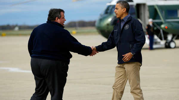 "<div class=""meta image-caption""><div class=""origin-logo origin-image none""><span>none</span></div><span class=""caption-text"">President Barack Obama is greeted by NJ Gov. Chris Christie upon his arrival in Atlantic City, Oct. 31, 2012. Obama took an aerial tour of Atlantic coastal areas damaged by Sandy. (AP/Pablo Martinez Monsivais)</span></div>"