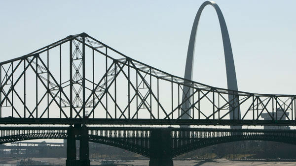 <div class='meta'><div class='origin-logo' data-origin='none'></div><span class='caption-text' data-credit='AP'>The Martin Luther King Bridge, top, and Eads Bridge, bottom, both crossing the Mississippi River, are seen from East St. Louis, Ill.</span></div>