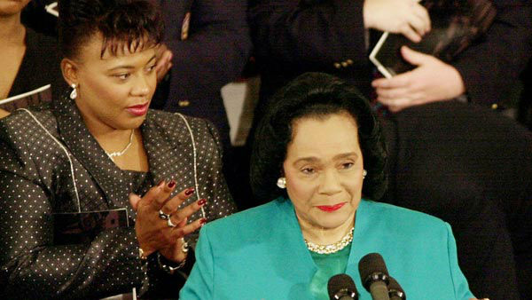 <div class='meta'><div class='origin-logo' data-origin='none'></div><span class='caption-text' data-credit='AP'>Rev. Bernice Albertine King applauds as her mother, Coretta Scott King, speaks during The Martin Luther King, Jr. Annual Commemorative Service</span></div>