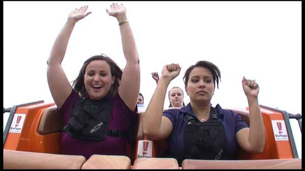 ABC7 reporter Jessica D'Onofrio rode the new record-breaking roller coaster Goliath, one day before it opens to the public at Six Flags Great America. <span class=meta>WLS Photo</span>