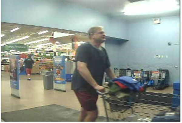 Updated photo of Doddy obtained from surveillance. Doddy is believed to be in the process of exiting a store in the Rockford area with several items. (Photo: Illinois State Police) <span class=meta>WLS Photo</span>