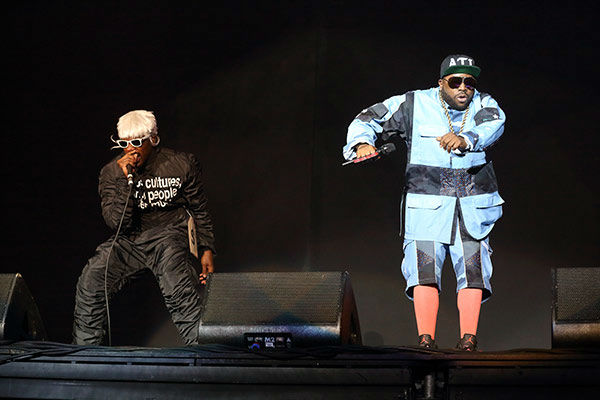 Andre 3000 (L) and Big Boi (R) of Outkast perform at Lollapalooza in Chicago's Grant Park on Saturday, Aug. 2, 2014. <span class=meta>Steve C Mitchell/Invision/AP</span>