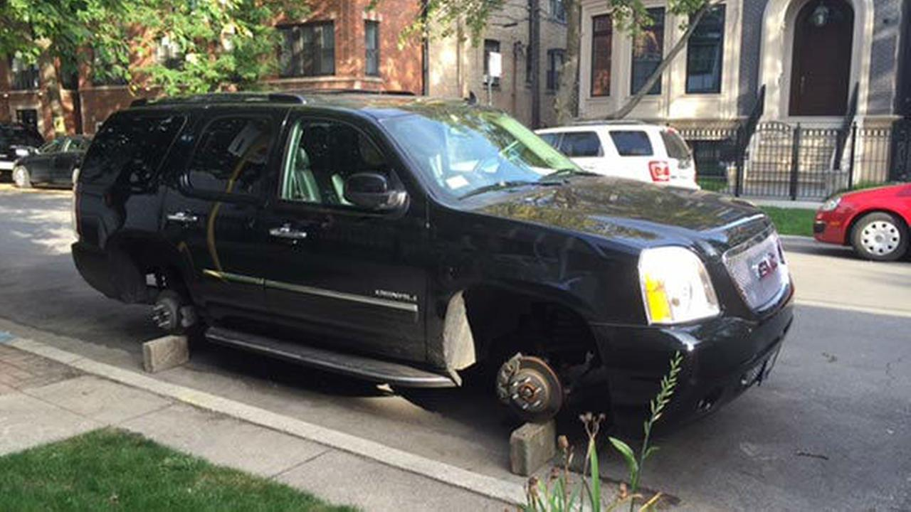 Suv With Stolen Tires Ticketed For Street Cleaning In