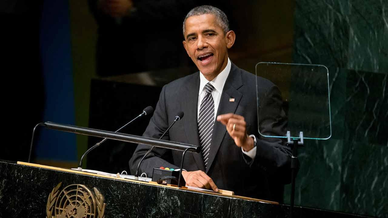 President Barack Obama speaks at the United Nations Sustainable Development Summit, Sunday, Sept. 27, 2015, at the United Nations headquarters.